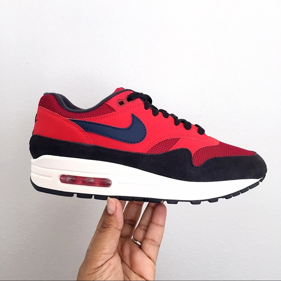 best authentic aecf1 dc669 Nike Air Max 1 Red Crush Midnight Navy Women 7.5